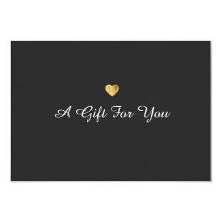 Vale elegante simple del corazón del oro invitación 8,9 x 12,7 cm