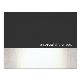 Vale moderno de la falsa raya de plata fresca invitación 10,8 x 13,9 cm