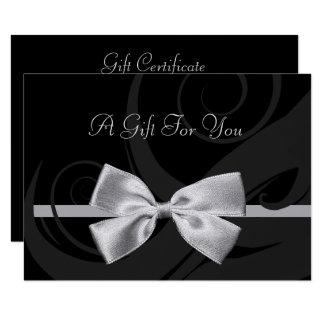 Vale negro elegante del arco de la plata de los invitación 8,9 x 12,7 cm