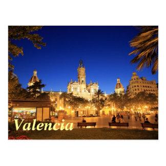 Valencia: Plaza Ayuntamiento por noche Postal