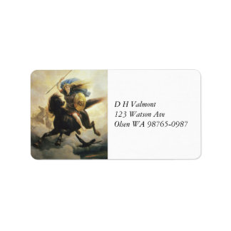 Valkyrie con el escudo a caballo etiqueta de dirección