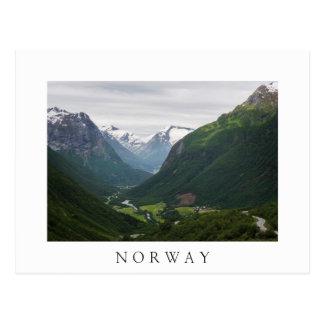 Valle de Hjelle en la postal blanca del texto de