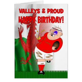 Valles y tarjeta de cumpleaños orgullosa del rugbi
