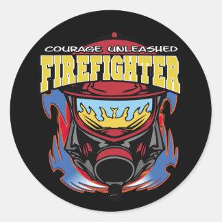 Valor del bombero pegatina redonda