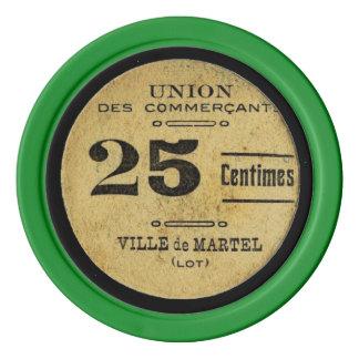 Valor del póker del color crema 25 del vintage del juego de fichas de póquer