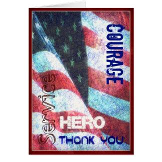 Valor - héroe - gracias tarjeta del día de