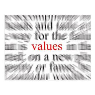 Valores (inspiración) tarjeta postal