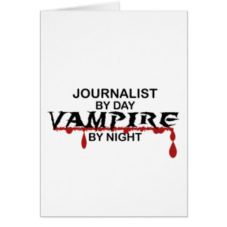 Vampiro del periodista por noche tarjeta de felicitación