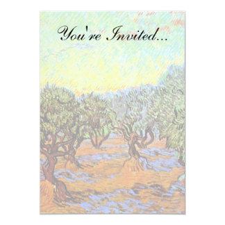 Van Gogh - arboleda verde oliva con el cielo Invitación 12,7 X 17,8 Cm