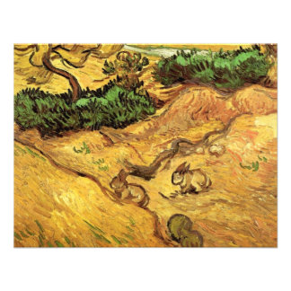 Van Gogh Campo con 2 conejos paisaje del vintage Invitacion Personalizada