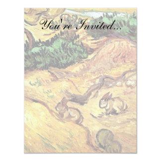 Van Gogh - campo con dos conejos Invitación 10,8 X 13,9 Cm