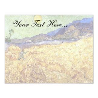 Van Gogh - campo de trigo con el segador Invitación 10,8 X 13,9 Cm
