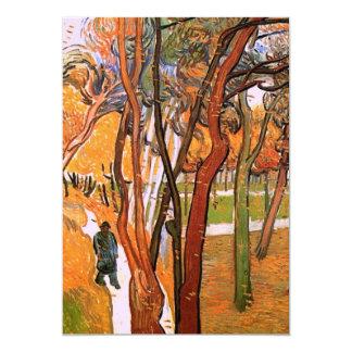 Van Gogh el paseo: Hojas que caen, arte del Invitación 12,7 X 17,8 Cm