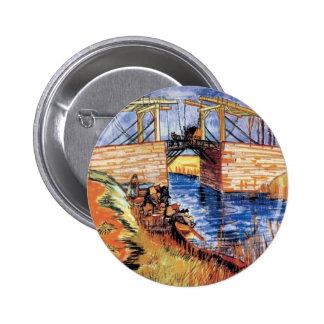 Van Gogh - el puente de Langlois en Arles Chapa Redonda 5 Cm