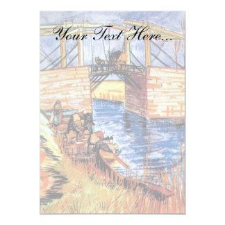 Van Gogh - el puente de Langlois en Arles Invitación 12,7 X 17,8 Cm
