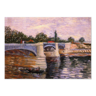 Van Gogh, el Sena Pont del Grande Jette, arte del Invitación 12,7 X 17,8 Cm