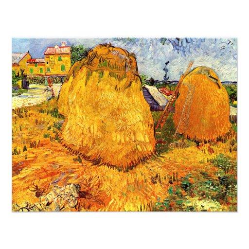 Van Gogh; Haystacks en Provence, granja del vintag Comunicado Personalizado