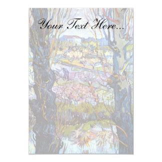 Van Gogh - huerta en la floración con los álamos Invitación 12,7 X 17,8 Cm