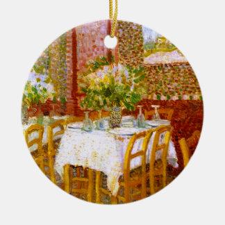 Van Gogh: Interior de un restaurante Adorno Redondo De Cerámica