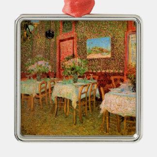 Van Gogh; Interior de un restaurante, arte del Adorno Cuadrado Plateado