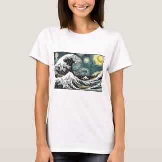 Van Gogh la noche estrellada - Hokusai la gran Camiseta