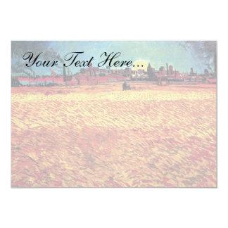 Van Gogh - la puesta del sol en campos de trigo Invitación 12,7 X 17,8 Cm