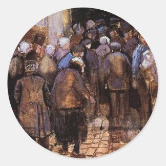 Van Gogh - los pobres y el dinero Etiqueta Redonda