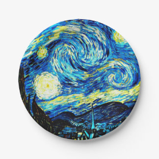 Van Gogh - noche estrellada Plato De Papel