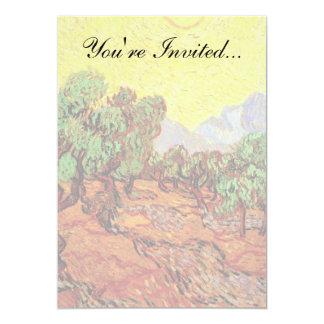 Van Gogh - olivos con el cielo amarillo y Sun Invitación 12,7 X 17,8 Cm