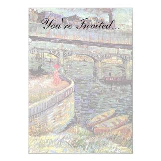 Van Gogh - puentes a través del Sena en Asnieres Invitación 12,7 X 17,8 Cm