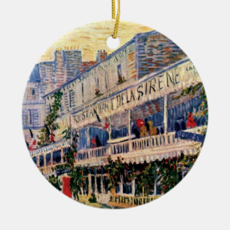 Van Gogh - Restaurant De La Sirene At Asnieres Adorno Redondo De Cerámica