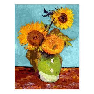 Van Gogh - tres girasoles en un florero - bella Postal