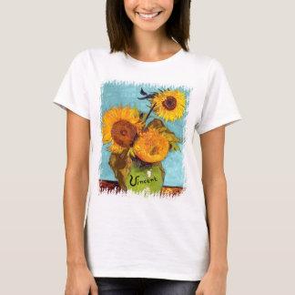 Van Gogh - tres girasoles en una bella arte del Camiseta