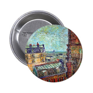 Van Gogh - vista de París del sitio de Vincents Chapa Redonda 5 Cm