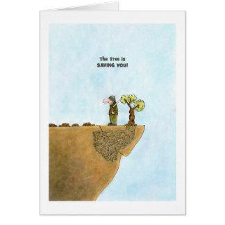 Van las cartas verdes, dibujo animado de los árbol tarjeta de felicitación