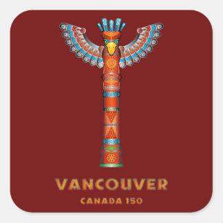 Vancouver (A.C.) Canadá - tótem Pegatina Cuadrada