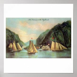 Vapor y poster del velero póster