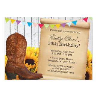 Vaquera del país y fiesta de cumpleaños de madera invitación 12,7 x 17,8 cm