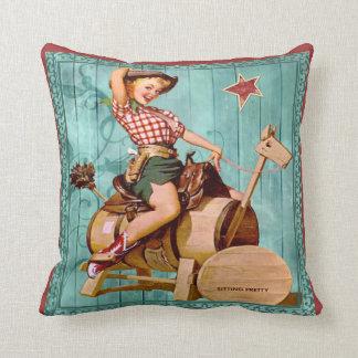 Vaquera occidental del vintage en caballo de cojín decorativo