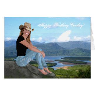 Vaquera - vaquero del feliz cumpleaños - tarjeta
