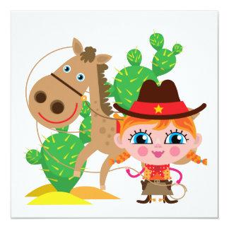 Vaquera y caballo invitacion personal