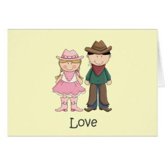 Vaquera y vaquero en amor tarjeta de felicitación