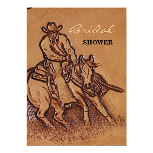 Vaquero de cuero equipado occidental del montar a invitaciones personalizada