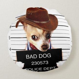 vaquero de la chihuahua - perro del sheriff cojín redondo