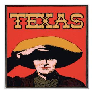 Vaquero de Tejas Invitación 13,3 Cm X 13,3cm