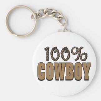 Vaquero del 100 por ciento llavero redondo tipo chapa