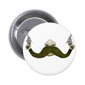 Vaquero del bigote chapa redonda de 5 cm
