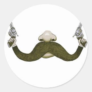 Vaquero del bigote pegatina redonda