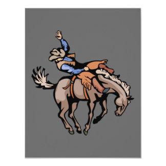 vaquero del rodeo e invitación bucking del caballo