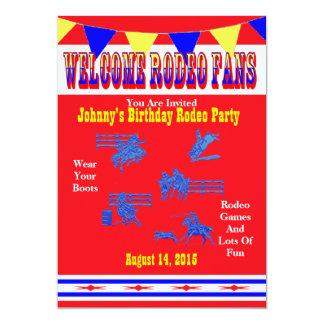 Vaquero del rodeo o fiesta occidental de la invitación 12,7 x 17,8 cm